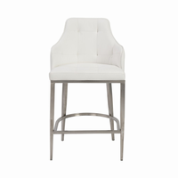 Euro Style Aaron Bar Stool in White With Brushed Stainless Steel Legs