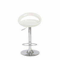 Euro Style Agnes Adjustable Swivel Bar/Counter Stool in White With Chrome Base