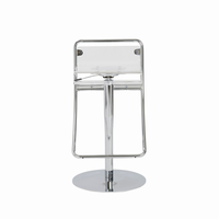 Euro Style Angelita Adjustable Swivel Bar/Counter Stool, Clear With Chrome Base