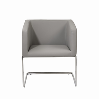 Euro Style Ari Lounge Chair in Gray With Chrome Base