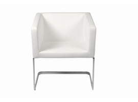 Euro Style Ari Lounge Chair in White With Chrome Base