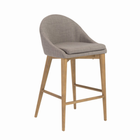 Euro Style Baruch Bar Stool in Dark Gray With Walnut Legs