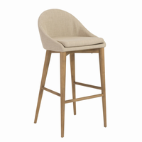 Euro Style Baruch Bar Stool in Tan With Walnut Legs