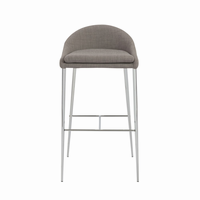 Euro Style Brielle Bar Stool in Gray With Chrome Legs, Set of 2