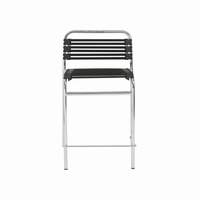 Euro Style Bungie Stackable Counter Stool in Black With Chrome Legs, Set of 4