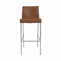 Euro Style Cam Bar Stool in Cognac With Chrome Legs, Set of 2