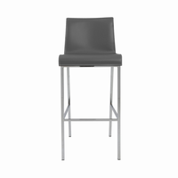 Euro Style Cam Bar Stool in Gray With Chrome Legs, Set of 2
