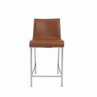 Euro Style Cam Counter Stool in Cognac With Chrome Legs, Set of 2