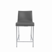 Euro Style Cam Counter Stool in Gray With Chrome Legs, Set of 2