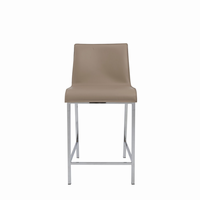 Euro Style Cam Counter Stool in Tan With Chrome Legs, Set of 2