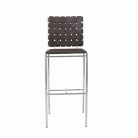 Euro Style Carina Bar Stool in Brown With Chrome Legs, Set of 2