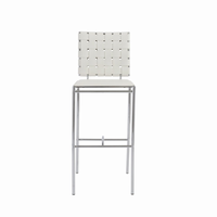 Euro Style Carina Bar Stool in White With Chrome Legs, Set of 2