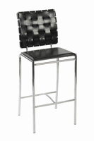 Euro Style Carina Counter Stool in Black With Chrome Legs, Set of 2