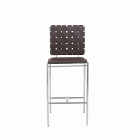 Euro Style Carina Counter Stool in Brown With Chrome Legs, Set of 2
