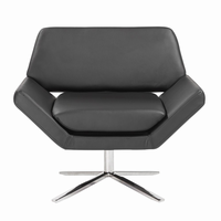 Euro Style Carlotta Lounge Chair in Black With Brushed Stainless Steel