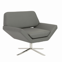 Euro Style Carlotta Lounge Chair in Gray With Brushed Stainless Steel