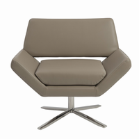 Euro Style Carlotta Lounge Chair in Taupe With Brushed Stainless Steel