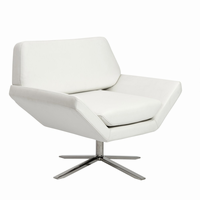 Euro Style Carlotta Lounge Chair in White With Brushed Stainless Steel