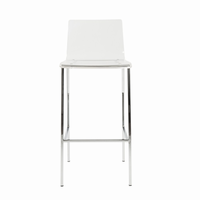 Euro Style Chloe Bar Stool in Clear With Chrome Legs, Set of 2