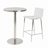 Euro Style Chloe Counter Stool in Clear With Chrome Legs, Set of 2