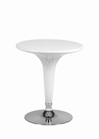 Euro Style Clyde Adjustable Bar/Pub Table in White With Chromed Steel Base