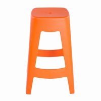 Euro Style Coda Stackable Counter Stool in Orange, Set of 4