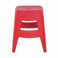 Euro Style Coda Stacking Stool in Red, Set of 4