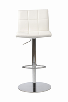 Euro Style Cyd Adjustable Swivel Bar/Counter Stool in White With Chrome Base