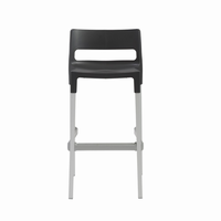 Euro Style Divo Stackable Bar Stool in Anthracite With Aluminum Legs, Set of 4