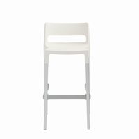 Euro Style Divo Stackable Bar Stool in Linen With Aluminum Legs, Set of 4