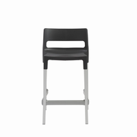 Euro Style Divo Stackable Counter Stool in Anthracite, Aluminum Legs, Set of 4