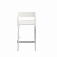 Euro Style Divo Stackable Counter Stool in Linen With Aluminum Legs, Set of 4