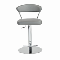 Euro Style Draco Adjustable Swivel Bar/Counter Stool in Gray With Chrome Base