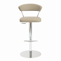 Euro Style Draco Adjustable Swivel Bar/Counter Stool in Taupe With Chrome Base