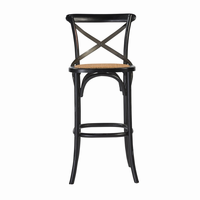 Euro Style Ella Bar Stool in Black and Antique Rattan