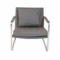 Euro Style Emmett Lounge Chair in Dark Gray With Brushed Stainless Steel Base
