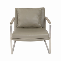 Euro Style Emmett Lounge Chair in Dark Taupe With Brushed Stainless Steel Base