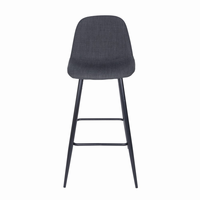 Euro Style Enzio Bar Stool in Charcoal and Matte Black, Set of 2