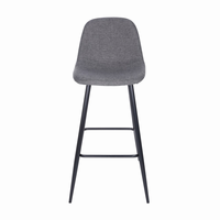 Euro Style Enzio Bar Stool in Dark Gray and Matte Black, Set of 2
