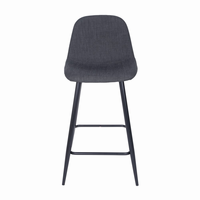 Euro Style Enzio Counter Stool in Charcoal and Matte Black, Set of 2