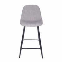 Euro Style Enzio Counter Stool in Light Gray and Matte Black, Set of 2