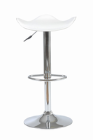 Euro Style Fabia Adjustable Swivel Bar/Counter Stool in White With Chrome Base