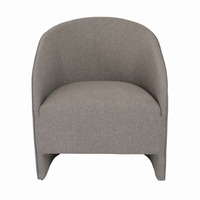 Euro Style Fela Lounge Chair in Dark Gray Leatherette and Gray Fabric
