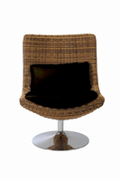 Euro Style Fenia Swivel Chair in Triple Brown Rattan With Chrome Base
