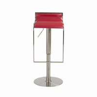 Euro Style Forest Adjustable Swivel Bar/Counter Stool in Red/Satin Nickel Base