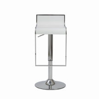 Euro Style Fortuna Adjustable Swivel Bar/Counter Stool in White With Chrome Base