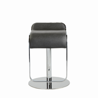 Euro Style Freddy Adjustable Swivel Bar/Counter Stool in Black With Chrome Base