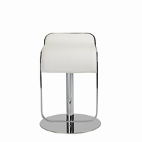 Euro Style Freddy Adjustable Swivel Bar/Counter Stool in White With Chrome Base
