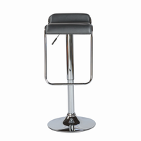Euro Style Furgus Adjustable Swivel Bar/Counter Stool in Black With Chrome Base