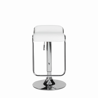 Euro Style Furgus Adjustable Swivel Bar/Counter Stool in White With Chrome Base